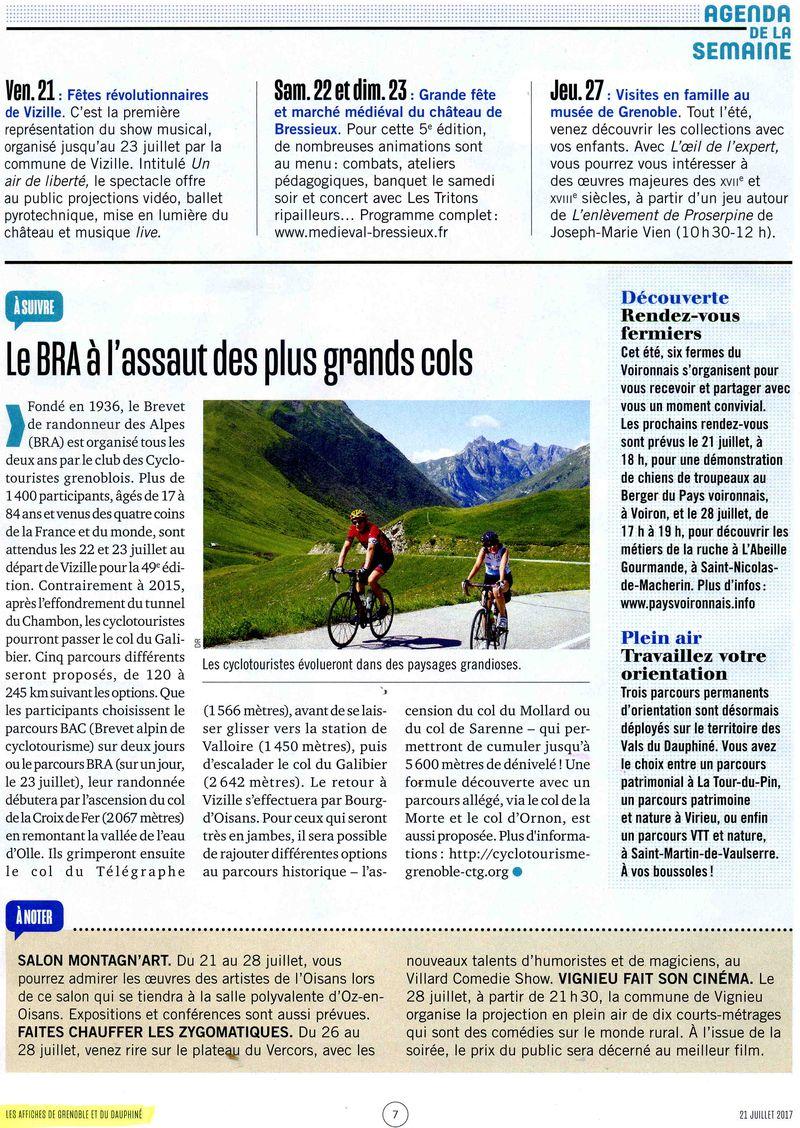 Les affiches de Grenoble et du Dauphiné du 21 juillet 2017